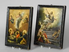 A pair of 19th century double sided Russian icons Typically worked with religious scenes and with