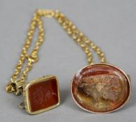 Two George III gold seals One matrix worked with a coaching scene, the other with crest and