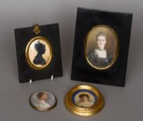 Thee early 20th century painted portrait miniatures  A study of lady, one initialled JK; together