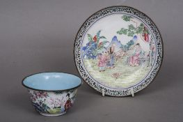 A 19th century Canton enamel bowl and saucer Each decorated with various figures in landscapes.  The