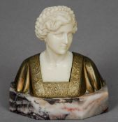 An early 20th century bronze and ivory bust Modelled as a Pre-Raphaelite type maiden, standing on