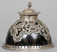 A Victorian silver mounted tortoiseshell inkwell, hallmarked London 1890, maker's mark of WC 8.5