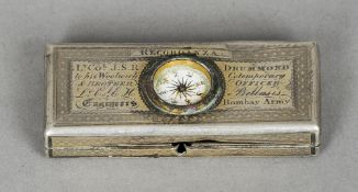 A 19th century unmarked silver toothpick box The lid inset with a compass and with presentation