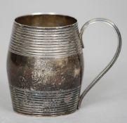A George III silver Christening mug, hallmarked London 1806, maker's mark indistinct Of banded
