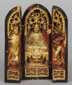 A Chinese gilt decorated carved wood triptych travelling shrine 20.5 cm high. CONDITION REPORTS: