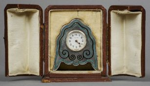 A 925 Sterling silver enamel decorated silver cased Zenith desk clock In original fitted leather