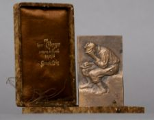 MAX BLONDAT (1872-1925) French A cased cast bronze World War I prisoner of war clothing collection