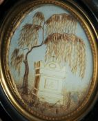 A 19th century memento mori miniature The central scene formed from hair, framed and glazed.  12.5