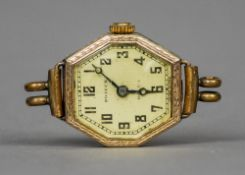 A 9 ct gold cased lady's Rolex Roseck wristwatch 2 cm wide. CONDITION REPORTS: Some wear to dial,