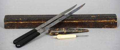 Two similar 19th century surgeons knives Housed in a leather case; together with a small ivory