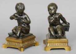 A pair of 19th century patinated bronze models of putto One holding a bird, the other a bird cage,