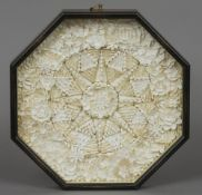 A single piece shell valentine Of typical octagonal form.  38 cm wide. CONDITION REPORTS: Overall