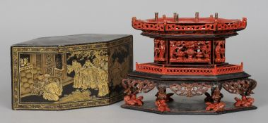 A 19th century Chinese joss-stick stand Of hexagonal section, the metal lift out tray above