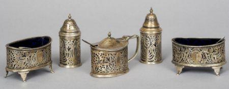 A five piece Victorian silver cruet set, hallmarked Birmingham 1900, maker's mark of Elkington & Co.
