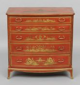 A chinoiserie lacquered chest of drawers The five drawer chest with iron red ground and gilt detail,