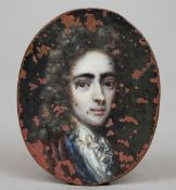A 17th century miniature portrait on copper  Depicting a young gentleman with a white lace ruff.