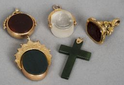 A small quantity of gold and unmarked gold mounted fob seals Together with a gold mounted cross.