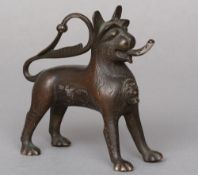 An 18th/19th century bronze Aquamanile Typically formed as a lion with evidence of previous