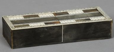 A 19th century Anglo-Indian Vizagapatam horn and ivory cribbage box  Of typical form, the twin
