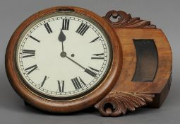 A Victorian mahogany cased drop dial wall clock The twelve inch white painted dial with Roman