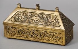 A French Medieval style 19th century bronze chocolate casket, made for the chocolatier Marquise de