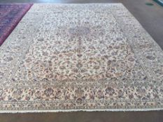 A Keshan wool carpet 403 x 300 cm.  CONDITION REPORTS: Generally in good condition, expected wear.
