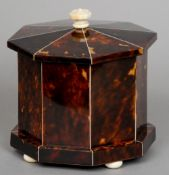 A 19th century ivory mounted tortoiseshell and mahogany tea caddy Of octagonal form with flattened