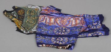 Two large silk scarves, with Harrods printed name,