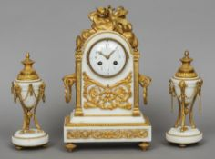 A 19th century French ormolu mounted marble clock garniture The white marble clock surmounted with