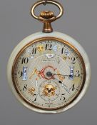 A Minimax mother-of-pearl Masonic pocket watch The circular dial with Arabic numerals and subsidiary