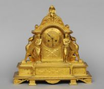 A 19th century ormolu clock The case surmounted with classical figures and mythical beasts, the dial