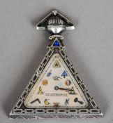 A Continental silver triangular cased Masonic pocket watch The shaped mother-of-pearl dial decorated
