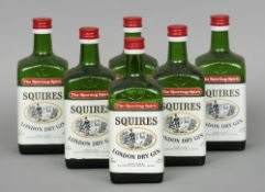 Squires London Dry Gin, 26.6 fl ozs., 70% proof Six bottles.  (6) CONDITION REPORTS: Generally