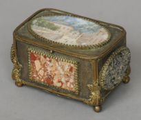 A 19th century Italian specimen marble mounted gilt metal casket The rounded rectangular hinged
