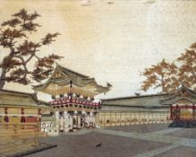 A Chinese 19th/20th century silkwork picture Worked with a temple gate, framed and glazed.  58.5 x