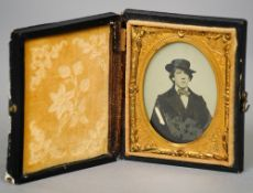 A 19th century Ambrotype  The sitter purported to be Oscar Wilde,