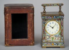 A champleve enamel cased carriage clock The white dial with Arabic numerals and four pillar