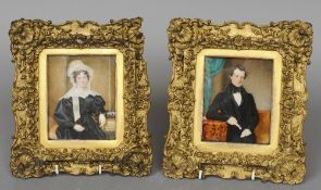 ENGLISH SCHOOL (19th century)  Portrait miniatures of a Gentleman and His Wife Watercolour on