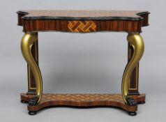 A 19th century style console table The serpentine parquetry top above a frieze drawer and twin