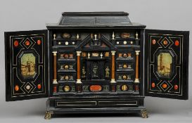 A 19th century Italian ivory and specimen stone inlaid table cabinet The domed top with upper