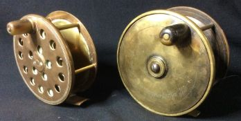 W. Cowperthwaite, Keswick, a Victorian brass salmon fly reel Together with another by Ventiland. (2)