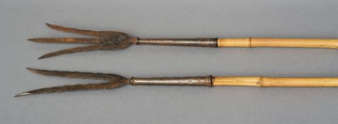 Two 19th century Indo-Persian spears One a trident, the other a bident, the former with floral