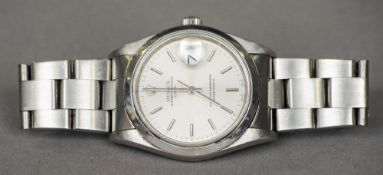 A gentleman's stainless steel cased Rolex Oyster Perpetual wristwatch The signed silvered dial