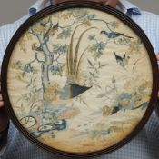 A 19th century Chinese embroidered silkwork panel Decorated with various birds on water amongst