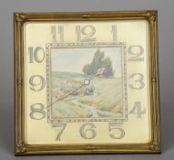 An early 20th century bronze framed bracket clock The ivory dial painted with a landscape scene, the