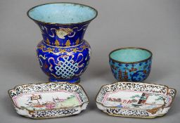 A Chinese Canton enamel decorated vase Painted with precious objects; together with a Canton