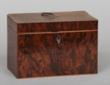 A George III yewwood tea caddy Of typical form with fitted interior.  18 cm wide. CONDITION REPORTS:
