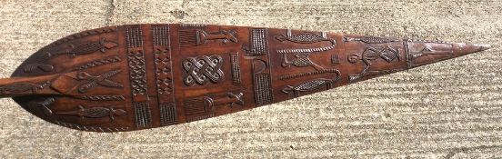 A 19th century West African (Cameroon) carved Duala tribe ceremonial canoe paddle The flattened