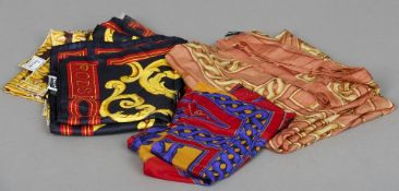A selection of silk scarves, all with Harrods printed name,