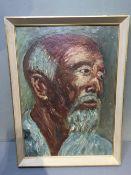CHINESE SCHOOL (20th century) Portrait of a Bearded Gentleman Oil on board 24.5 x 34.5 cm, framed